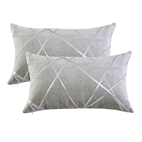 Gigizaza Cushion Covers 30 x 50 cm Silver Grey Square Small Chenille Decorative 12 x 20 Inch Pillowcases for Sofa Bedroom Living room Set of 2