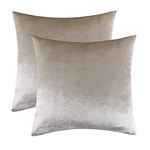 Gigizaza Ivory Throw Pillow Covers Case, Accent Comfortable Jacquard Luxury Velvet Cushion Cover, Best Decorative Square Sham Pillow Covers for Sofa Couch BedHome Decor 18x18 Inches 45x45CM Set of 2