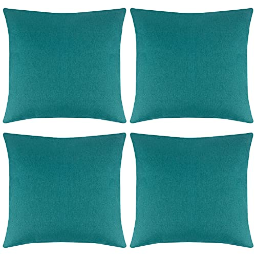 ANECO Pack of 4 Outdoor Waterproof Throw Pillow Covers Decorative Garden Cushion Cases Square Pillowcases for Patio, Couch, Tent, Balcony and Sofa, 18 x 18 Inches, Blue-green