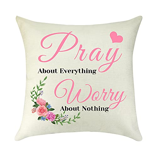 Inspirational Quote Gift for Women Men Linen Cushion Cover Religious Gift Pillow Cover Motivational Gift Encouragement Gift Brithday Gift for Best Friend Son Daughter Pillow Case Sofa Home Decorative