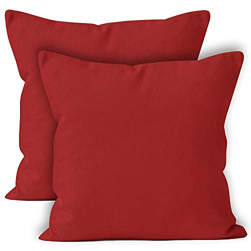 Encasa Homes Cushion Covers 2pc set (60 x 60 cm) - Deep Red - Solid Dyed Cotton Canvas, Decorative Large Square Colourful Washable Throw Pillow Cases for Living Room, Sofa, Bedroom, Home & Hotel
