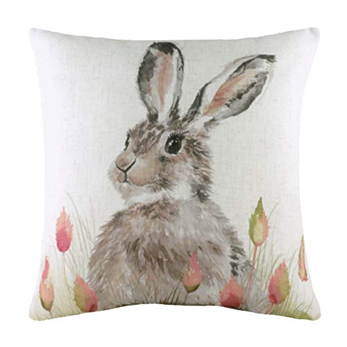 Evans Lichfield Hedgerow Hare Cushion Cover, Polyester, White, 43 X 43cm