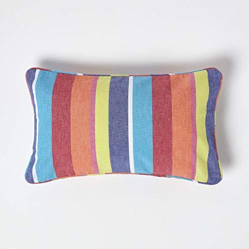 HOMESCAPES - 100% Cotton - Multi Stripes Cushion Cover - 30 x 50 cm Rectangular - 12 x 20 Inches - Orange Yellow Blue - 100% Cotton Sofa Pillow Cushion Cover - Washable