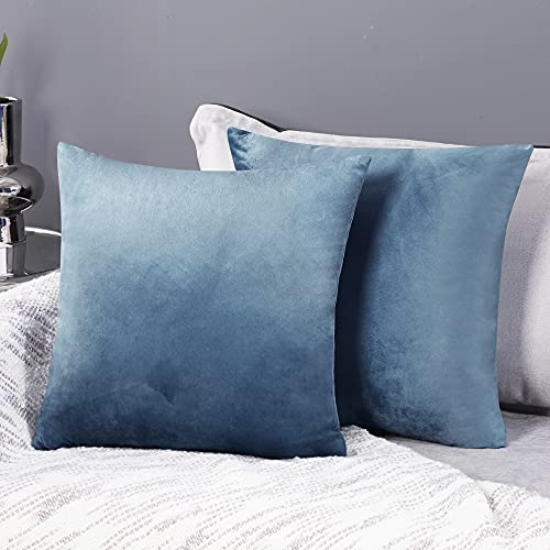 Deconovo Set of 2 Crushed Velvet Cushion Covers 45cm x 45cm 18x18 Inches Throw Pillowcases Cushion Covers for Sofas Seats with Invisible Zipper Stone Blue