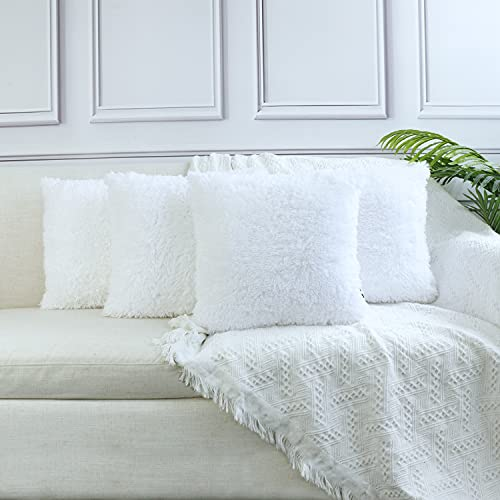 Sea Soft Lion Velvet Throw Pillow Case Cushion Cover Fashion Home Decorative Pillowcase (4-pack) (White)