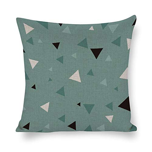 Promini White And Black Triangle Pattern - Throw Pillow Covers Handmade Comfortable Cotton and Linen Pillowcases Soft Cushion House Decor For Car Home Sofa Living Room Bedroom 12' x 12'