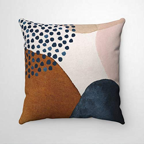 EricauBird Art Navy Rust Beige Blush Pink Shapes Premium Thraow Pillow Cover,Decorative Pillow,Modern Cushion Cover For St.Patrick's Day,Indoor Bedroom,Sofa,Living Room,Car.