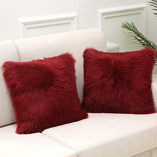 HARESLE Pack of 2 Throw Pillow Cases Faux Fur Cushion Covers Fluffy Pillow Covers Soft Cases for Sofa Bedroom Home Decorative, 45 x 45cm Wine Red