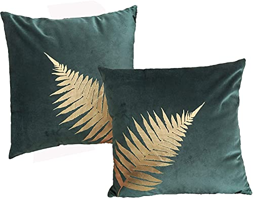 ZUODU Plant Leaves Cushion Cover,Gold Foil Printing Velvet Pillow Case Cover,Cushion Covers for Sofa Car Home Decor 45x45cm,Set of 2 (golden Leave-set of 2)