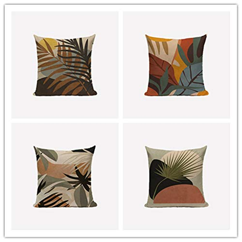 N / A Cushion Covers 35x35cm 14x14 Inch Square Throw Pillow Case set of 4,Linen Cotton with Invisible Zipper Decorative Cushion Covers for Sofa Bedroom, Scandinavian Style A1661
