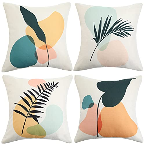 ETOLISHOP Cushion Covers Set of 4 Throw Pillows Cover Abstract Stone Yellow Blue Green Brown Decorative Cushion Case for Sofa 45x45cm Linen