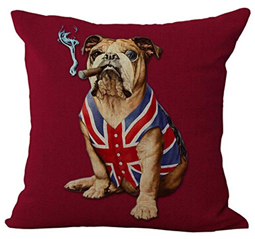 Touch Colourful 20x20 Inches English Bulldog Creative Personality American Flag and Union Jack pet Dog Home Throw Pillow Case Personalized Cushion Cover New Home Office Decorative Square
