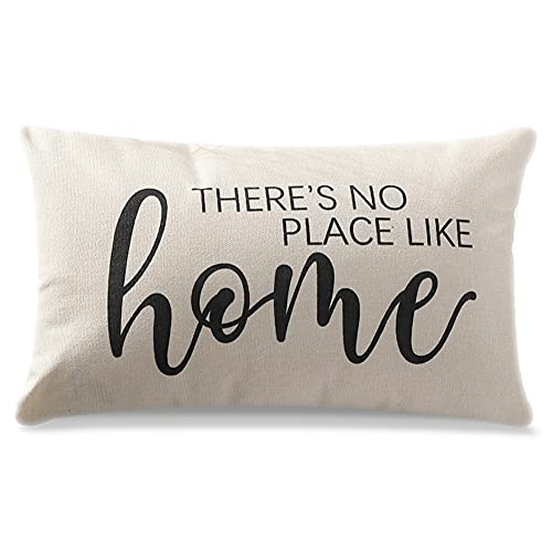 Artscope Farmhouse Cushion Covers with Quotes -There's NO Place Like Home -30 x 50 cm Decorative Throw Pillow Covers for Housewarming Gifts Family Room Décor
