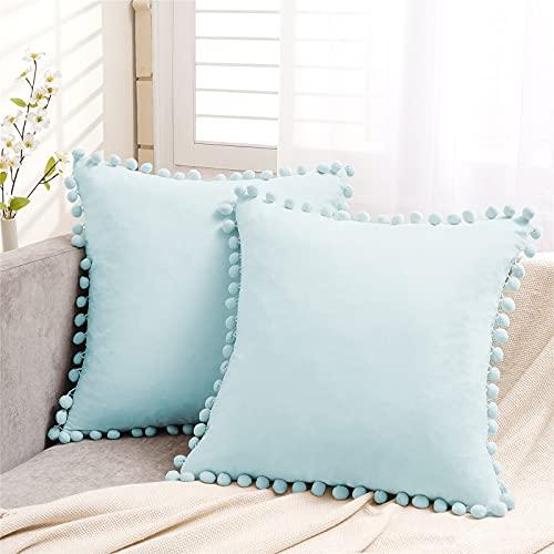 Topfinel Light Blue Velvet Cushion Covers 22x22 Inch Large Square Decorative Throw Pillowcases for Livingroom Sofa Bedroom 55cmx55cm,Pack of 2