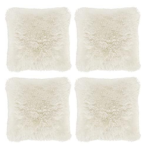 "Hivexagon Faux Fur CREAM Pillow Cover Set of 4 (17"" x 17"")"