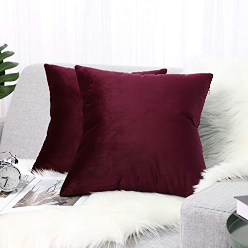 Lewondr Velvet Soft Cushion Cover, 2 Pack Modern Solid Color Square Decorative Throw Pillow Case Cover for Car Sofa Bed Couch Home Christmas Decor, 18'x18'(45x45cm), Burgundy