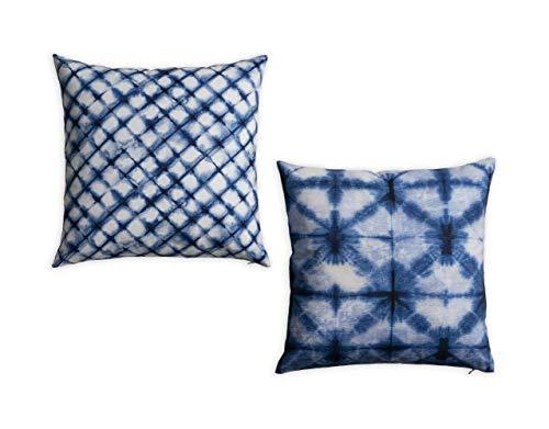 Amazon Brand - UMI Indigo - Indigo Strokes 100% Cotton Pack of Two Cushion Covers 45 cm by 45 cm