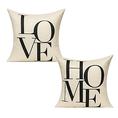 All Smiles Love Home Word Cushion Covers Couples Welcome Decor Throw Pillows Cases Decorative Farmhouse Quote Words Inspirational 18x18 Set of 2 for Sofa Couch Car