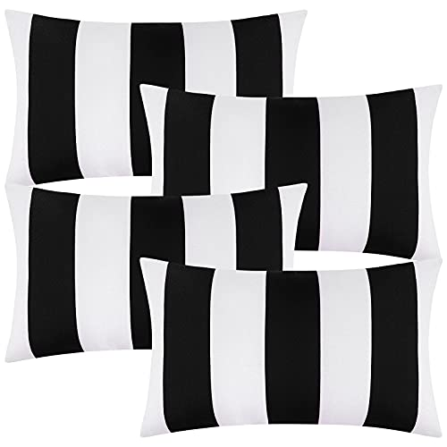 ANECO Pack of 4 Waterproof Pillow Covers Outdoor Throw Pillowcases Square Garden Cushion Case for Home, Garden, Patio, Black, 12 x 20 Inches