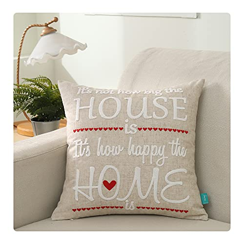 UKHP Embroidery Cushion Covers Decorative Sqaure Linen Throw Pillow Covers for Couch, Sofa, Chair, Living Room 45x45 cm, 18x18 inch House Home