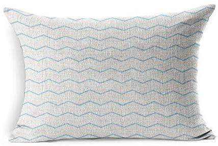Zigzag Navy Baby Pattern Pastel Blue White Abstract Zag Design Chevron Cute Dark Denim Drawing Flat Herringbone Rectangle Cushion Covers 16x24 for Living Room Sofa Decor Outdoor