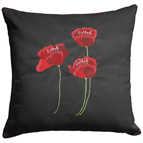 Poppies Cushion Cover, Luxury Faux Silk Cushion Covers, Embroidered Floral Design (22' x 22', Black)