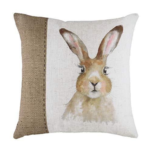 Evans Lichfield Hessian Hare Cushion Cover, White, 43 x 43cm