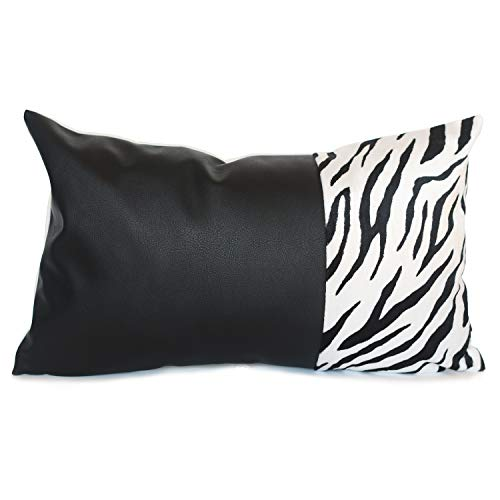 Kdays Color Block Zebra Faux Fur Accent Throw Pillow Cover Decorative Black Faux Leather Cushion Pillowcase Sofa Couch Bohemian Country Rustic Modern Cottage Lumbar Pillow 12x20 Inches