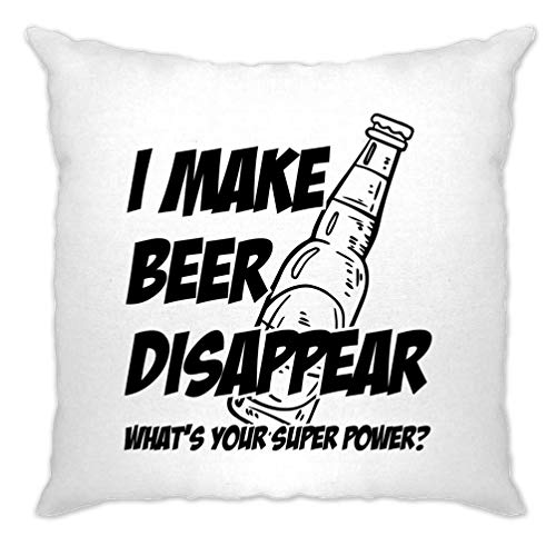 Tim And Ted I Make Beer Disappear Cushion Cover Super Power Joke Pub Drinking Gift Idea - (White/One Size)