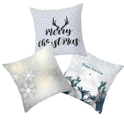 Aeici Pillowcase Xmas Pillowcases Set of 3, Snowflake Deer Ball Merry Christmas Happy New Year Throw Cushion Covers 45x45cm Pillowcase for Christmas Grey