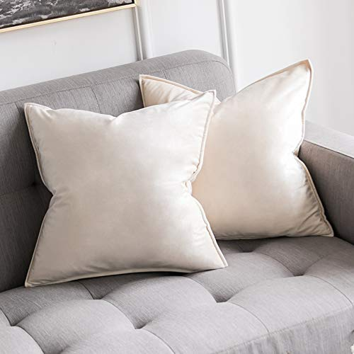 MIULEE Pack of 2 Velvet Soft Decorative Square Throw Pillow Case Flanges Cushion Covers Pillowcases for Livingroom Sofa Bedroom with Invisible Zipper 50cm x 50cm 20x20 Inch Set of Two Cream