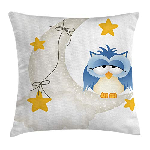 Ambesonne Moon Throw Pillow Cushion Cover, Owl Dozing on Crescent Moon with Stars Sleep Baby Print, Decorative Square Accent Pillow Case, 16' X 16', Yellow Blue