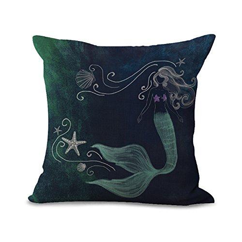Cushion Cover Cartoon Mermaid Series Fish Tail Color Scales Deep Sea Creative Art Pillow Case Home Shop Bar Club Car Cat Bed Dog Bed Decor Cotton Cushion Cover (18x18 inch/ 45x45cm) MY-S1033-01 (#2)