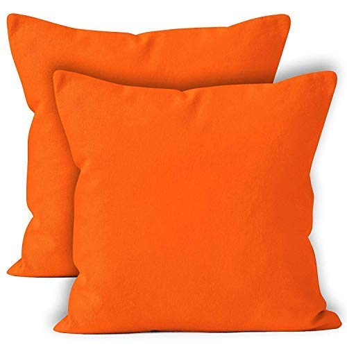 Encasa Homes Cushion Covers 2pc set (45 x 45 cm) - Orange - Solid Dyed Cotton Canvas, Decorative Large Square Colourful Washable Throw Pillow Cases for Living Room, Sofa, Bedroom, Home & Hotel