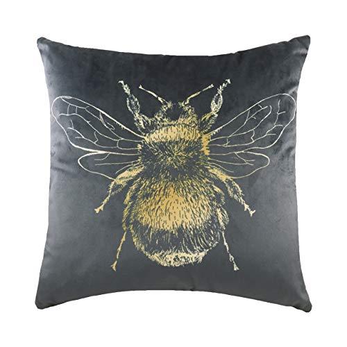 Evans Lichfield Gold Bee Cushion Cover, Grey, 43 x 43cm