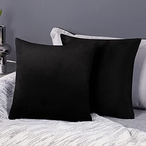 Deconovo Halloween Decoration Set of 2 Cushion Protectors Large Crushed Velvet Cushion Covers 65cm x 65cm 26x26 Inches Throw Pillow Cases for Boys with Invisible Zipper Black