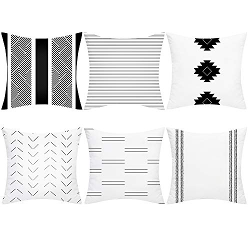 Alishomtll Cushion Covers set of 6, Pillow Cover Cushion Case, Soft Throw Pillowcase Geometric, Sofa Home Decoration Pillow, Polyester 18 x 18 inch White