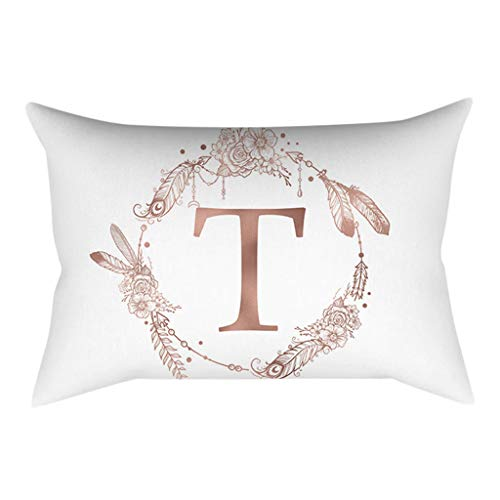 Celucke Throw Pillow Covers, Englisch Alphabet Letter Cushion Cover, Personalised Floral Print pillowcases for Sofa Bedroom Car Home Decor, 30cm x 50cm(T)