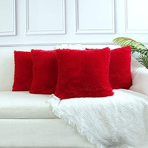 Sea Soft Lion Velvet Throw Pillow Case Cushion Cover Fashion Home Decorative Pillowcase (4-pack) (Red)