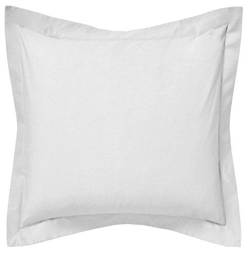 Saffron Floor Decorative Cushion Cover - Bed Throw Tailored Pillowcase With Flange Plain White Large 28x28 inch (70x70 cm) Cotton Removable COVER, Insert not included