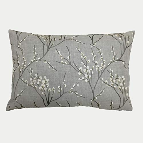 HOMESCAPES Grey Floral Cushion Cover 40 x 60 cm (16' x 24') Decorative Modern Rectangular Scatter Cushion Cover For Sofa or Bed