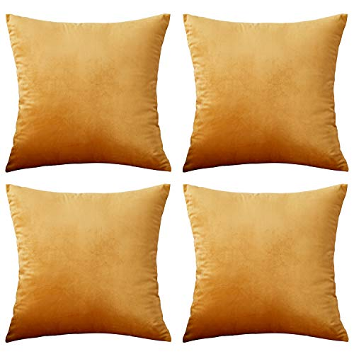 Rose Home Fashion 4 Pack Velvet Cushion Covers 18 X 18 INCH (45 X 45 CM), Square Decorative Throw Pillowcases for Livingroom Sofa or Bedroom, Golden