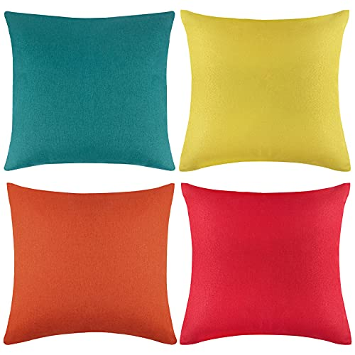 Aneco Pack of 4 Outdoor Waterproof Throw Pillow Covers Decorative Garden Cushion Cases Square Pillowcases for Patio, Couch, Tent, Balcony and Sofa, 18 x 18 Inches, Yellow, Red, Orange, Blue-green