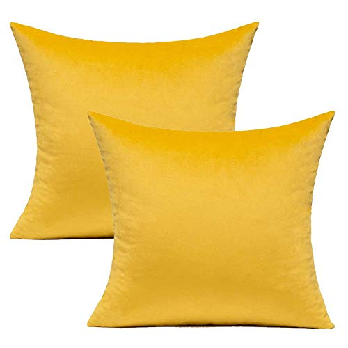 Yellow Couch Velvet Cushion Covers Bright Spring Decorative Square Pillowcases Sofa Super Soft Solid Cozy Cushion Cases Home Decor for Bedroom Living Room Car 16x16, 40cmx40cm Pack of 2