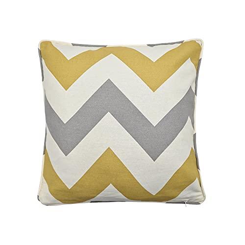 100% Cotton Zig ZAG Chevron Ochre Gold Yellow Cream Piped Cushion Cover 17' 43CM
