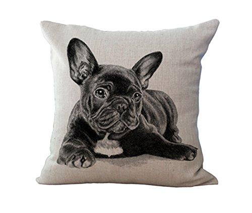 ZoonPark® Cotton Linen Square Decorative French Bulldog & Pug Home Decor Throw Sofa Car Cushion Cover Pillow Case 18'X18 (08#)