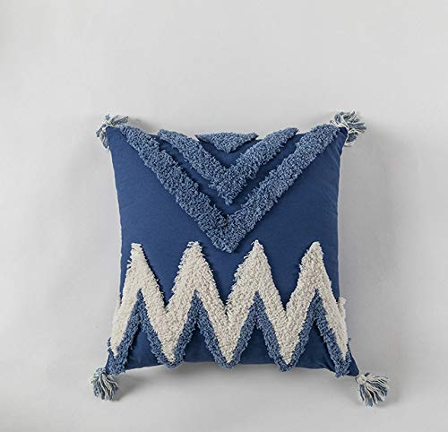 FFHJHJ Handmade Cushion Cover Moroccan Style Abstract Zigzag Navy Blue Pillowcase Tassels Fringe Square Rectangle Pillow Cover 45x45cm/30x50cm Home Decoration Mustard,C