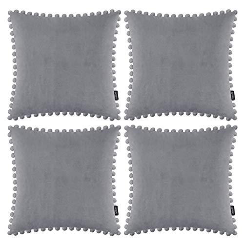 Pack of 4 Decorative Throw Pillow Covers with Pom Poms Soft Pillow Case Velvet Solid Cushion Covers Square Cushion Cases with balls for Sofa Home Bedroom Car (Light Grey, 18x18in/45x45cm)