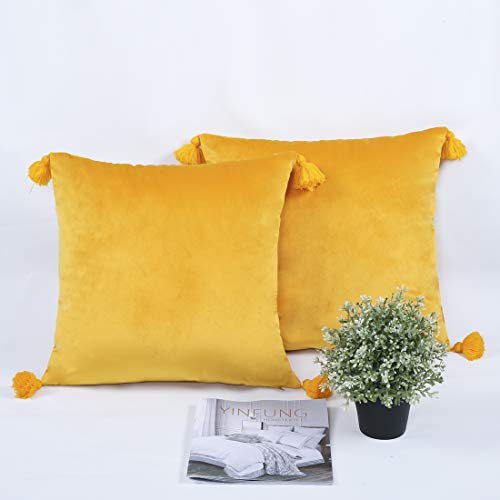 YINFUNG Blush Mustard Yellow Velvet Cushion Covers 18x18 Inch Soft Square Decorative Throw Pillowcases for Livingroom Sofa Bedroom 45cmx45cm,Pack of 2