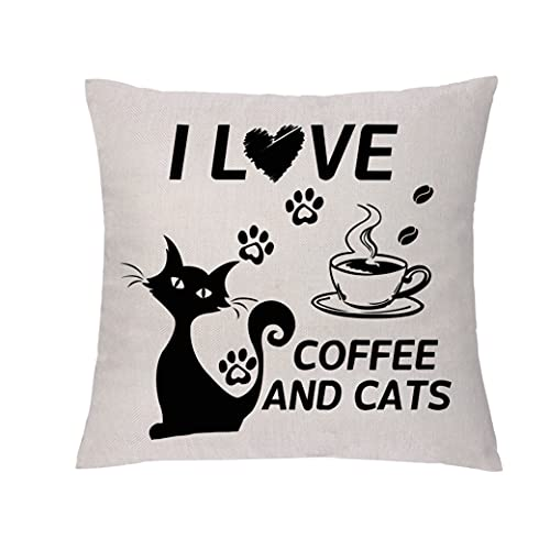GHORIHUB Funny Throw Pillowcases Linen Cushion Cover I Love Coffee Cats Pillow Cover Sofa Bedroom Decor Friends Daughter Sister Birthday Leisure Gift